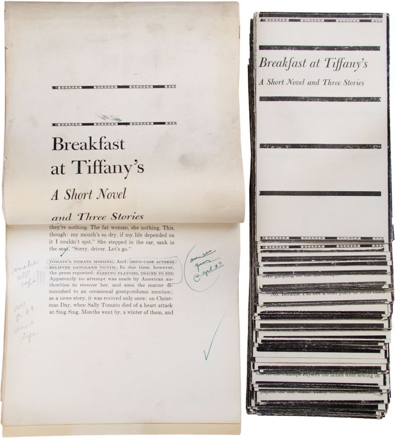 Galley Proofs of Breakfast at Tiffany's. Truman Capote.