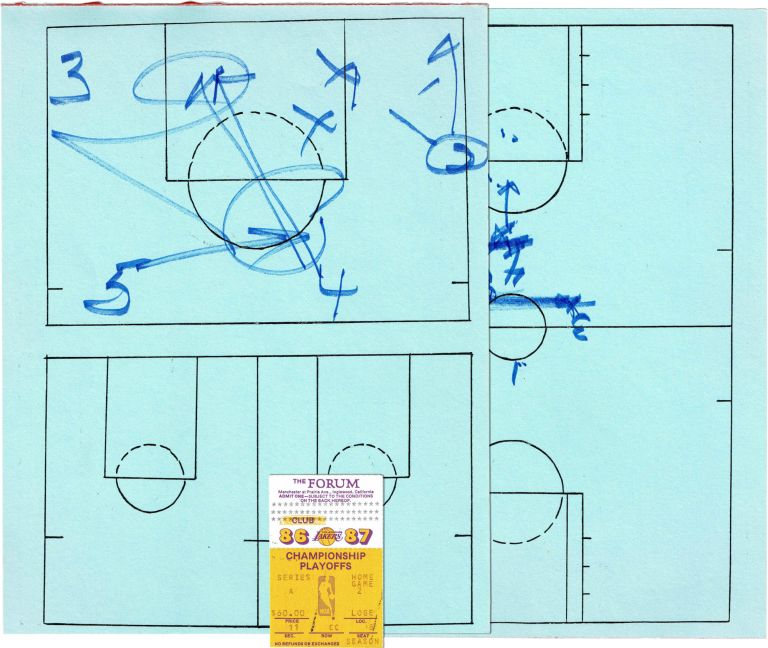 Original In Game Manuscript Play Call Sheets; From Round 1 of the 1987 Playoffs. LOS ANGELES LAKERS, PAT RILEY.