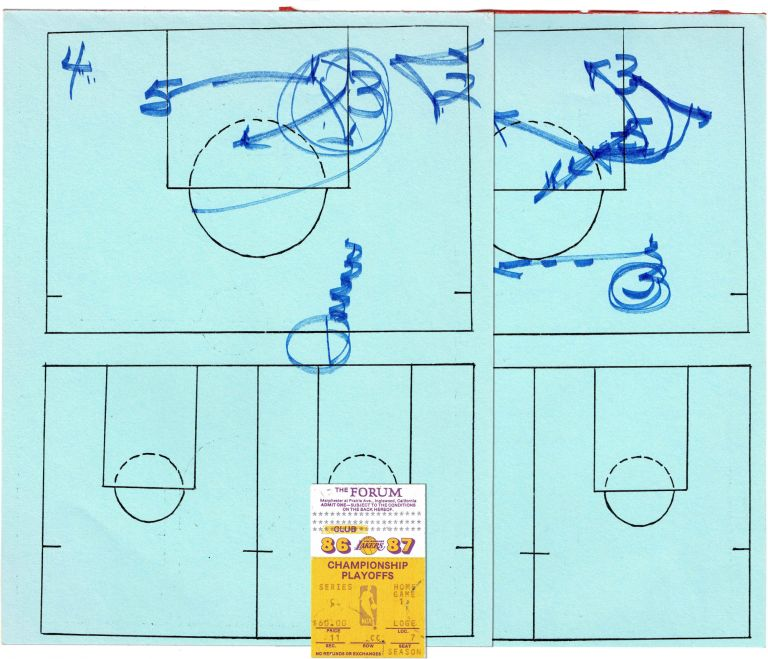 Original In Game Manuscript Play Call Sheets; From Round 3 of the 1987 Playoffs. LOS ANGELES LAKERS, PAT RILEY.
