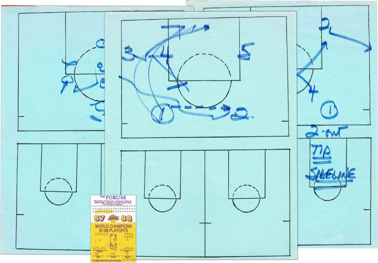 Original In Game Manuscript Play Call Sheets; From the NBA Finals of the 1988 Playoffs. LOS ANGELES LAKERS, PAT RILEY.