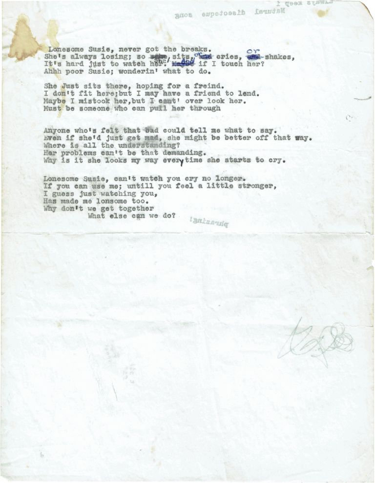 "Typed Manuscript Lyrics for ""Lonesome Susie"" The Band."