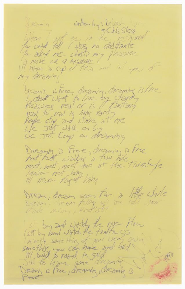 Handwritten Manuscript Lyrics of Dreamin'. Blondie.