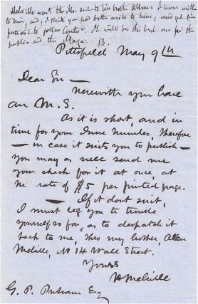 Autograph Letter, Signed. Herman Melville.
