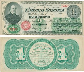 The First Dollar Bill. U. S. Currency.