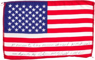Signed U.S. Flag Flown to the Moon. NASA.