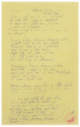 Handwritten Manuscript Lyrics of Dreamin'. Blondie